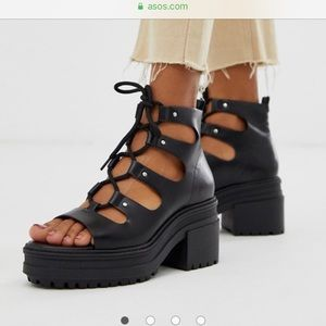 ASOS DESIGN Sergio Lace up sandals US size 6. UK 4